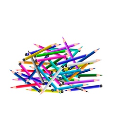 A Group of Colored Pencils on White Background vector image