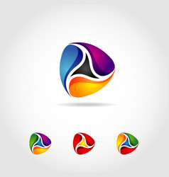 abstract colorful fluid loop shape logo sign vector image