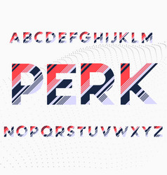 Alphabets font in colored diagonal stripes vector