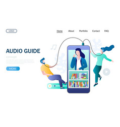 Audio guide website landing page design vector