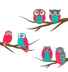 backgrounds with couple of owls on the vector image