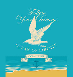 banner with hand drawn seagull and inscriptions vector image
