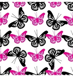 Beautiful seamless background of butterflies black vector
