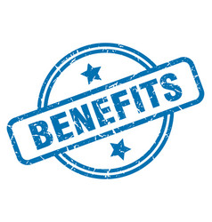 benefits grunge stamp vector image