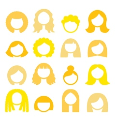 Blond hair styles wigs icons set - women vector