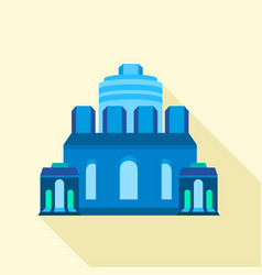 blue ancient building icon flat style vector image