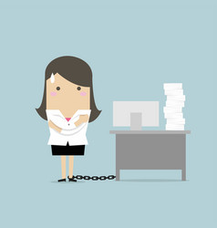 businesswoman chained to the desk vector image