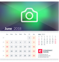 calendar for june 2018 week starts on sunday 2 vector image