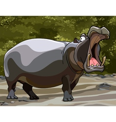 cartoon big hippo with open mouth vector image