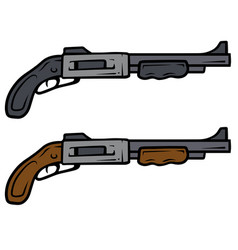 cartoon shotguns weapon icons vector image