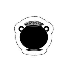 cauldron with money icon vector image