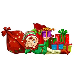 Christmas theme with elf and gift boxes vector