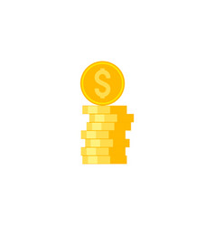 coins stack flat icon vector image