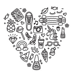 cool teenager stuff favorite things doodle heart vector image