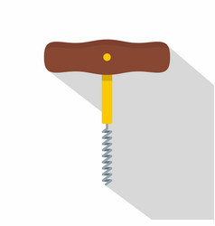 Corkscrew with wooden handle icon flat style vector