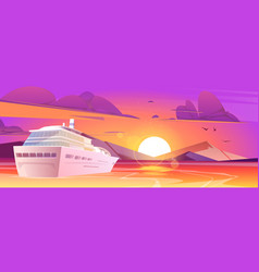 cruise ship in sea with mountains at sunset vector image