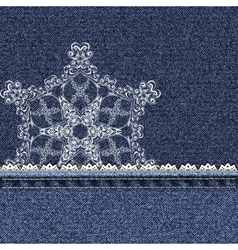 Denim lace snowflake vector