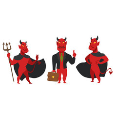 Devil with cape and pitchfork evil businessman vector
