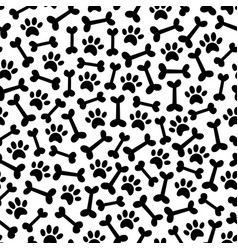 Dog paw and bown seamless pattern vector