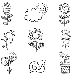 Doodle of spring flower set hand draw vector image