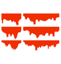dripping borders set red blood halloween vector image