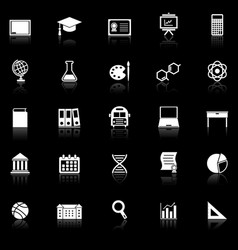 Education icons with reflect on black background vector