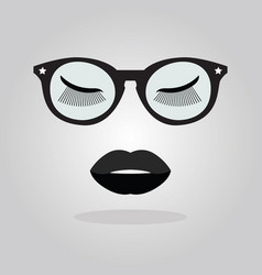 Elegant lady lips with sunglasses and stars icon vector