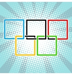 Five sports rings square black blue red green vector image