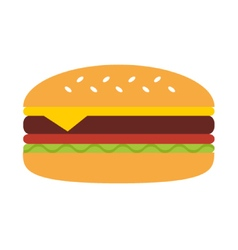 Flat design cheeseburger isolated on white vector