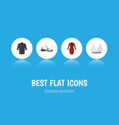 Flat icon dress set of uniform brasserie clothes vector