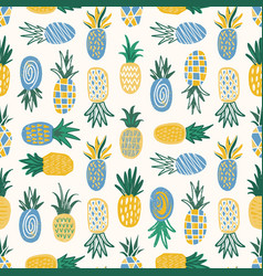 Flat seamless pattern with pineapples various vector