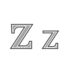 Font tattoo engraving letter Z with shading vector image