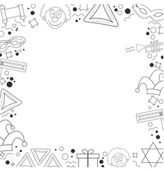 Frame with purim holiday flat design black thin vector