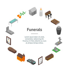 Funeral signs 3d banner card circle isometric view vector