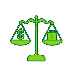 Gift and dollar symbol on scales lemon vector