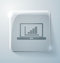 Glass square icon laptop with symbol diagram vector
