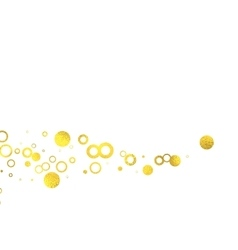 Gold glittering foil circles on white background vector