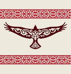 golden eagle with a kazakh ornament vector image