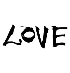 hand written black lettering love on a white vector image