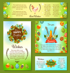 Happy easter day wishes poster and banner template vector