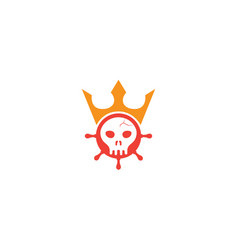 head skull inside a ship wheel icon with a crown vector image