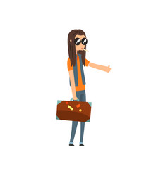 hitchhiking young man with long hair trying to vector image