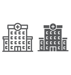 Hospital line and glyph icon architecture vector