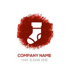 Icon socks - red watercolor circle splash vector
