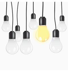 Idea concept with light bulbs vector image