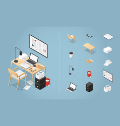 isometric office desk set vector image