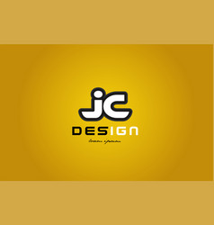 Jc j c alphabet letter combination digit white on vector