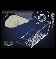 laptop mouse on a blue vector image
