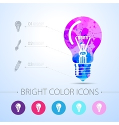 lightbulb blue icon with infographic vector image