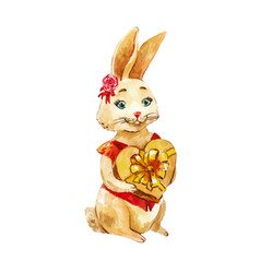little cute bunny with a gift funny character for vector image